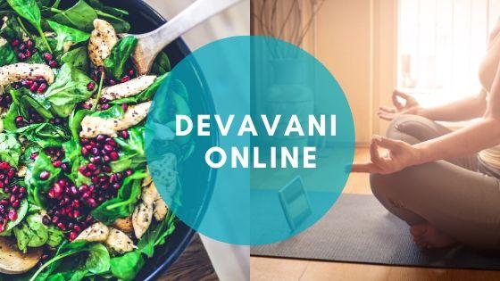 anuncio taller online sobre alimentación saludable, yoga y meditación.